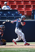 Tyler Frost (16) of the Gonzaga Bulldogs bats against the Cal State Fullerton Titans at Goodwin Field on March 12, 2017 in Fullerton, California. Fullerton defeated Gonzaga, 3-2. (Larry Goren/Four Seam Images)