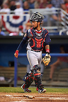 Brooklyn Cyclones catcher Ali Sanchez (4) during a game against the Batavia Muckdogs on July 4, 2016 at Dwyer Stadium in Batavia, New York.  Brooklyn defeated Batavia 5-1.  (Mike Janes/Four Seam Images)