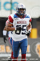 September 11, 2010; Hamilton, ON, CAN; Montreal Alouettes wide receiver Brian Bratton (85). CFL football: Montreal Alouettes vs. Hamilton Tiger-Cats at Ivor Wynne Stadium. The Alouettes defeated the Tiger-Cats 27-6. Mandatory Credit: Ron Scheffler. Copyright (c) 2010 Ron Scheffler.