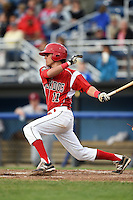 Batavia Muckdogs shortstop Aaron Blanton (11) at bat during a game against the Mahoning Valley Scrappers on June 20, 2014 at Dwyer Stadium in Batavia, New York.  Batavia defeated Mahoning Valley 7-4.  (Mike Janes/Four Seam Images)