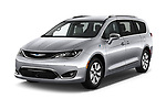 2017 Chrysler Pacific Hybrid Limited 5 Door Mini Van angular front stock photos of front three quarter view