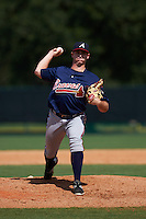 Atlanta Braves pitcher Evan Phillips (48) during an instructional league game against the Toronto Blue Jays on September 30, 2015 at the ESPN Wide World of Sports Complex in Orlando, Florida.  (Mike Janes/Four Seam Images)