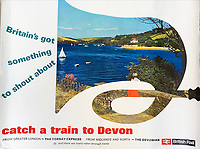 BNPS.co.uk (01202 558833)<br /> Pic: DavidLayFRICS/BNPS<br /> <br /> Pictured: 'Britain's got something to shout about' A British Rail Poster promoting Devon.<br /> <br />  A wonderful collection of vintage British travel posters celebrating the golden age of the seaside getaway have emerged for sale for £15,000.<br /> <br /> The posters were produced by Great Western Railway and British Railways between the 1930s to the 1960s to encourage Brits to holiday on the Cornish coast.<br /> <br /> One striking Art Deco poster issued by Great Western Railway shows a lady in an orange swimsuit at Newquay with surfers in the background. <br /> <br /> It describes the popular holiday destination as 'Cornwall's first Atlantic resort'.<br /> <br /> The collection of about 30 posters has been put together by a private collector over the past two decades who is now selling them with auction house David Lay FRICS, of Penzance, Cornwall.