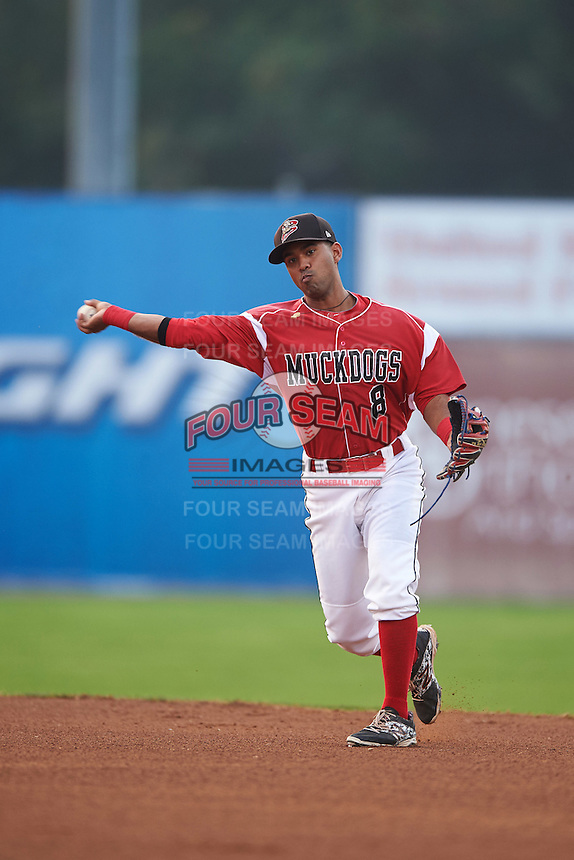 Batavia Muckdogs second baseman Giovanny Alfonzo (8) throws to first during a game against the West Virginia Black Bears on August 31, 2015 at Dwyer Stadium in Batavia, New York.  Batavia defeated West Virginia 5-4.  (Mike Janes/Four Seam Images)