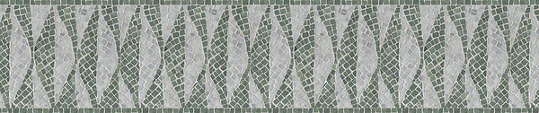 "8 1/2"" Foliole border, a hand-chopped stone mosaic, shown in tumbled Carrara and Wujan Jade."