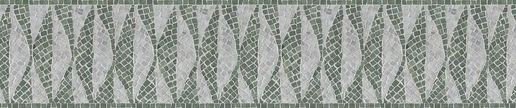 "8 1/2"" Foliole border, a hand-chopped stone mosaic, shown in tumbled Carrara and Wujan Jade."