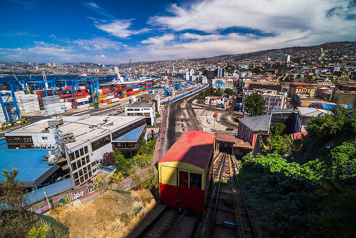 Funicular train 21 de Mayo (May 21st) and Valparaiso Port on Artillery Hill, Valparaiso Province, Chile
