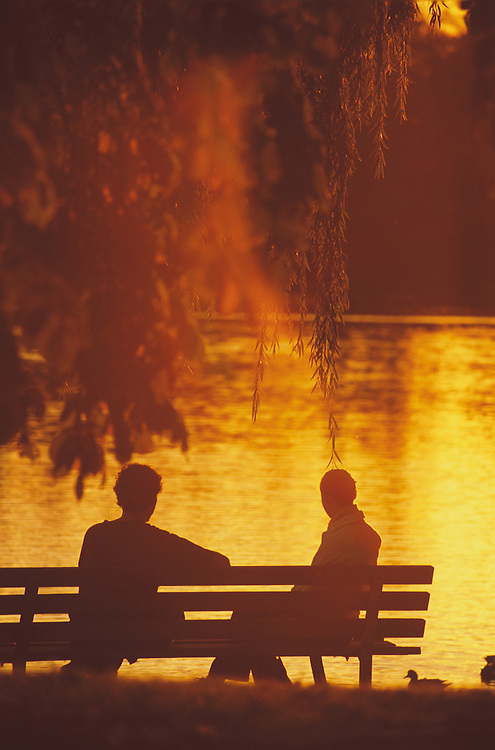 Couple sitting on bench at Lost Lagoon, with soft-focus, orange dreamy sunset, Stanley Park, Vancouver, BC.