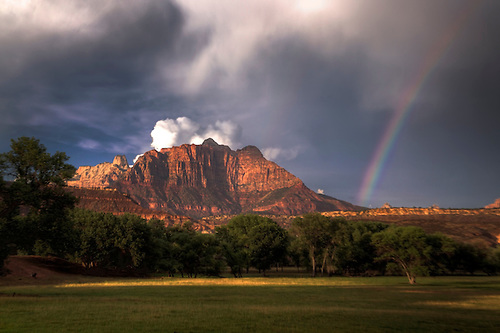 A rainbow appears at Zion National Park, Utah