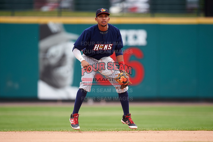 Toledo Mudhens shortstop Dixon Machado (6) during a game against the Rochester Red Wings on June 12, 2016 at Frontier Field in Rochester, New York.  Rochester defeated Toledo 9-7.  (Mike Janes/Four Seam Images)