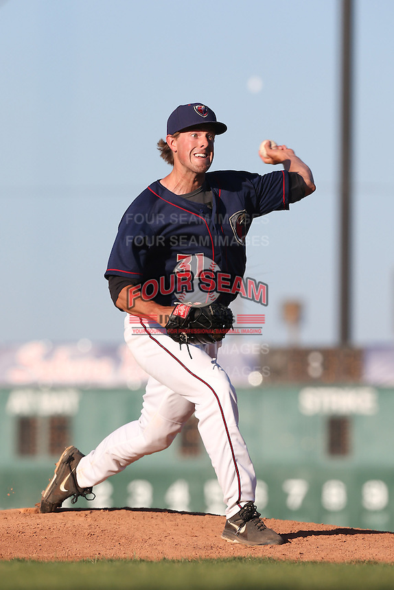 J.D. Osborne #31 of the Lancaster JetHawks pitches against the Inland Empire 66ers at The Hanger on May 26, 2014 in Lancaster, California. Lancaster defeated Inland Empire, 6-5. (Larry Goren/Four Seam Images)