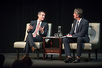 Los Angeles Mayor Eric Garcetti talks with Los Angeles Times architecture critic Christopher Hawthorne in Occidental College's Keck Theater on February 13, 2014. They discussed ways to make the city a more pleasant place to live and work. (Photo by Marc Campos, Occidental College Photographer)