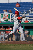 Auburn Doubledays right fielder Jacob Rhinesmith (18) at bat during a game against the Batavia Muckdogs on June 28, 2018 at Dwyer Stadium in Batavia, New York.  Auburn defeated Batavia 14-9.  (Mike Janes/Four Seam Images)