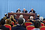 Palestinian President Mahmoud Abbas addresses during a meeting with a J Street delegation and members of the Democratic Party of the US Congress at the presidential headquarters, in the West Bank city of Ramallah, February 19, 2019. Photo by Thaer Ganaim