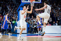 Real Madrid's Jonas Maciulis and Sergio Llull during Euroleague match at Barclaycard Center in Madrid. April 07, 2016. (ALTERPHOTOS/Borja B.Hojas) /NortePhoto