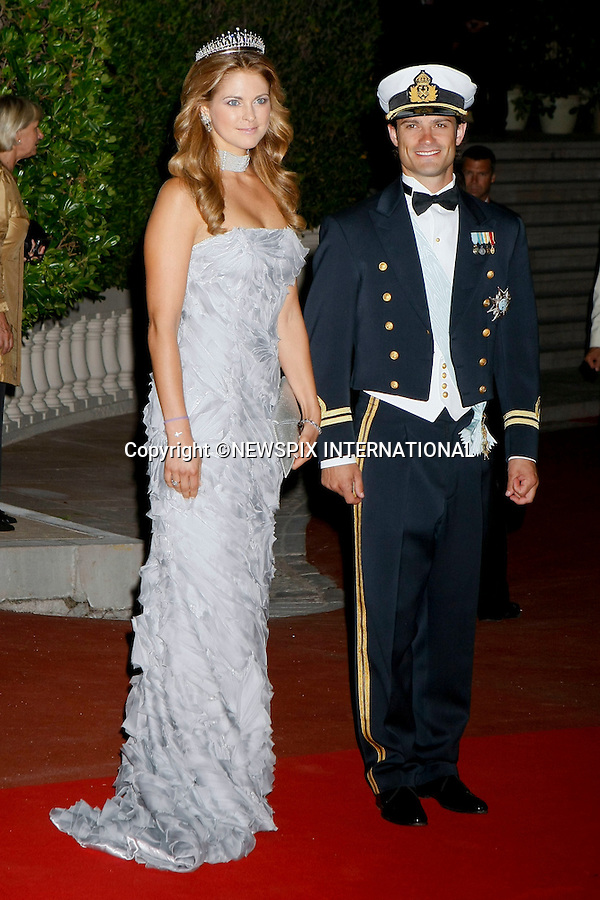"""MONACO ROYAL WEDDING.Princess Madeleine and Prince Carl Phillip..Guests Arrive at the  wedding dinner for H.S.H Prince Albert II and Miss Charlene Wittstock in Les Terrasses de l'opera Garnier._ Monaco 01/07/2011..Mandatory Photo Credit: ©Newspix International..**ALL FEES PAYABLE TO: """"NEWSPIX INTERNATIONAL""""**..PHOTO CREDIT MANDATORY!!: NEWSPIX INTERNATIONAL(Failure to credit will incur a surcharge of 100% of reproduction fees)..IMMEDIATE CONFIRMATION OF USAGE REQUIRED:.Newspix International, 31 Chinnery Hill, Bishop's Stortford, ENGLAND CM23 3PS.Tel:+441279 324672  ; Fax: +441279656877.Mobile:  0777568 1153.e-mail: info@newspixinternational.co.uk"""