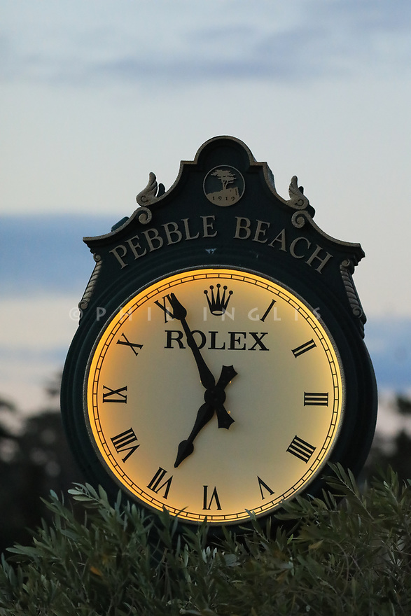 Rolex clock on 1st tee during the final round of the AT&T Pro-Am, Pebble Beach Golf Links, Monterey, USA. 11/02/2019<br /> Picture: Golffile | Phil Inglis<br /> <br /> <br /> All photo usage must carry mandatory copyright credit (© Golffile | Phil Inglis)