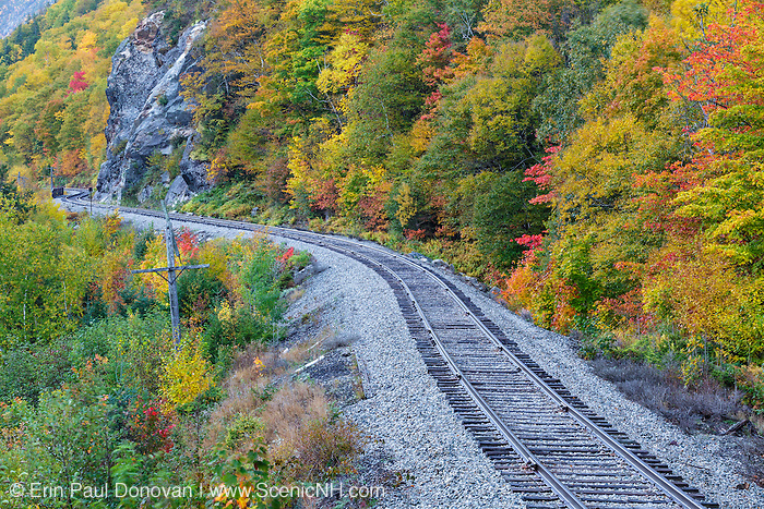 Crawford Notch State Park - Autumn foliage along the old Maine Central Railroad in Hart's Location, New Hampshire USA.