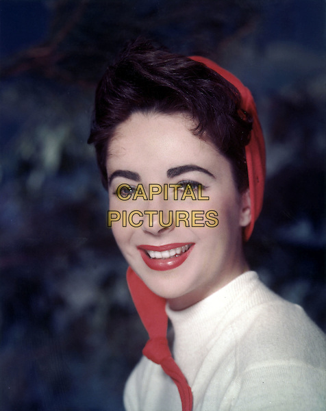 ELIZABETH TAYLOR.headshot portrait red white.*Editorial Use Only*.CAP/STF/PEL.Supplied by Capital Pictures.