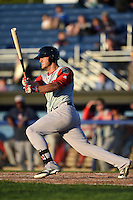 Lowell Spinners designated hitter Nick Moore at bat during a game against the Batavia Muckdogs on July 16, 2014 at Dwyer Stadium in Batavia, New York.  Lowell defeated Batavia 6-4.  (Mike Janes/Four Seam Images)