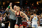 CLEVELAND, OH - MARCH 16: Hayden Hidlay, of NC State, defeats Alec Pantaleo, of Michigan, in the 157 weight class during the Division I Men's Wrestling Championship held at Quicken Loans Arena on March 16, 2018 in Cleveland, Ohio. (Photo by Jay LaPrete/NCAA Photos via Getty Images)