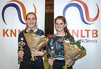 Wateringen, The Netherlands, December 15,  2019, De Rhijenhof , NOJK juniors doubles , Final girls14 years, winners Annelin Bakker (NED)  and Rose Marie Nijkamp (NED) (R) with the trophy<br /> Photo: www.tennisimages.com/Henk Koster