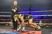 Renald Garrido enters the ring wearing a lion mask during a Boxing Show at Bracknell Leisure Centre on 8th July 2018