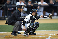 Wake Forest Demon Deacons catcher Brendan Tinsman (9) frames a pitch as home plate umpire Gregory Street looks on during the game against the Sacred Heart Pioneers at David F. Couch Ballpark on February 15, 2019 in  Winston-Salem, North Carolina.  The Demon Deacons defeated the Pioneers 14-1. (Brian Westerholt/Four Seam Images)