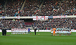 West Ham's and Stoke's players pay their respects for Rememberance Sunday during the Premier League match at the London Stadium, London. Picture date November 5th, 2016 Pic David Klein/Sportimage