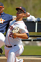 Buies Creek Astros pitcher Franklin Perez (21) throwing in the bullpen before a game against the Winston-Salem Dash at Jim Perry Stadium on the campus of Campbell University on April 9, 2017 in Buies Creek, North Carolina. Buies Creek defeated Winston-Salem 2-0. (Robert Gurganus/Four Seam Images)