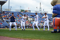 Binghamton Rumble Ponies players dance during a game against the Hartford Yard Goats on July 9, 2017 at NYSEG Stadium in Binghamton, New York.  Hartford defeated Binghamton 7-3.  (Mike Janes/Four Seam Images)