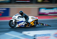 Jul 19, 2019; Morrison, CO, USA; NHRA pro stock motorcycle rider Kelly Clontz during qualifying for the Mile High Nationals at Bandimere Speedway. Mandatory Credit: Mark J. Rebilas-USA TODAY Sports