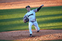 Wisconsin-Milwaukee Panthers relief pitcher Alex Fischer (13) delivers a pitch during a game against the Bethune-Cookman Wildcats on February 26, 2016 at Chain of Lakes Stadium in Winter Haven, Florida.  Wisconsin-Milwaukee defeated Bethune-Cookman 11-0.  (Mike Janes/Four Seam Images)