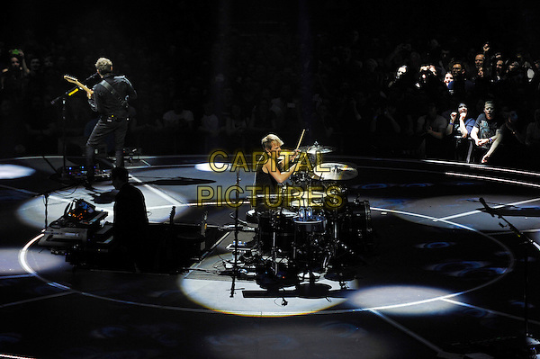 LONDON, ENGLAND - APRIL 3: Dominic Howard and Matt Bellamy of 'Muse' performing at the O2 Arena on April 3, 2016 in London, England.<br /> * Press use only. No merchandising *<br /> CAP/MAR<br /> &copy;MAR/Capital Pictures