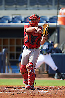 GCL Red Sox catcher Andrew Noviello (59) during the first game of a doubleheader against the GCL Rays on August 4, 2015 at Charlotte Sports Park in Port Charlotte, Florida.  GCL Red Sox defeated the GCL Rays 10-2.  (Mike Janes/Four Seam Images)