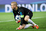 Kasper Schmeichel of Leicester City Football Club during the match of  Champions LEague between  Atletico de Madrid and LEicester City Football Club at Vicente Calderon  Stadium  in Madrid, Spain. April 12, 2017. (ALTERPHOTOS / Rodrigo Jimenez)