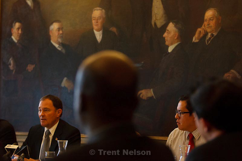 Trent Nelson  |  The Salt Lake Tribune.Utah governor Gary Herbert makes an introductory statement to the state's Multicultural Commission, which met at the state capitol in Salt Lake City, Utah, Tuesday, November 15, 2011. Left to right, Herbert, Nathan Hanamaikai