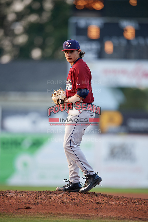 Mahoning Valley Scrappers starting pitcher Elijah Morgan (43) gets ready to deliver a pitch during a game against the Batavia Muckdogs on August 30, 2017 at Dwyer Stadium in Batavia, New York.  Batavia defeated Mahoning Valley 5-1.  (Mike Janes/Four Seam Images)