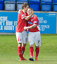 Brechin's Andy Jackson (9) ic congratulated after he scores Brechin's goal ...