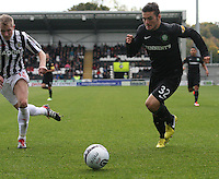 Anthony Watt chasing the ball in the St Mirren v Celtic Clydesdale Bank Scottish Premier League match played at St Mirren Park, Paisley on 20.10.12.