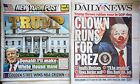 Headlines of the New York Post and New York Daily News on Wednesday, June 17, 2015 report on the previous day's news of Donald Trump announcing his run for president of the United States.  (© Richard B. Levine)