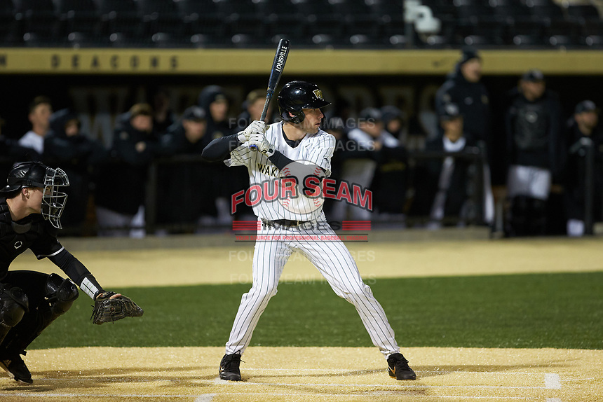 Pierce Bennett (5) of the Wake Forest Demon Deacons pinch-hits during the game against the Louisville Cardinals at David F. Couch Ballpark on March 6, 2020 in  Winston-Salem, North Carolina. The Cardinals defeated the Demon Deacons 4-1. (Brian Westerholt/Four Seam Images)