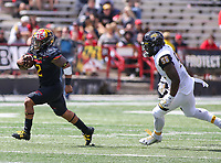 College Park, MD - September 9, 2017: Maryland Terrapins running back Lorenzo Harrison III (2) runs past the defender during game between Towson and Maryland at  Capital One Field at Maryland Stadium in College Park, MD.  (Photo by Elliott Brown/Media Images International)