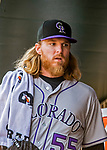 14 April 2018: Colorado Rockies starting pitcher Jon Gray gets ready in the dugout prior to a game against the Washington Nationals at Nationals Park in Washington, DC. The Nationals rallied to defeat the Rockies 6-2 in the 3rd game of their 4-game series. Mandatory Credit: Ed Wolfstein Photo *** RAW (NEF) Image File Available ***