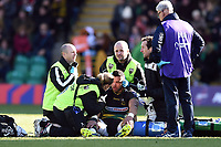 Luther Burrell of Northampton Saints is treated for an injury. Premiership Rugby Cup Final, between Northampton Saints and Saracens on March 17, 2019 at Franklin's Gardens in Northampton, England. Photo by: Patrick Khachfe / JMP