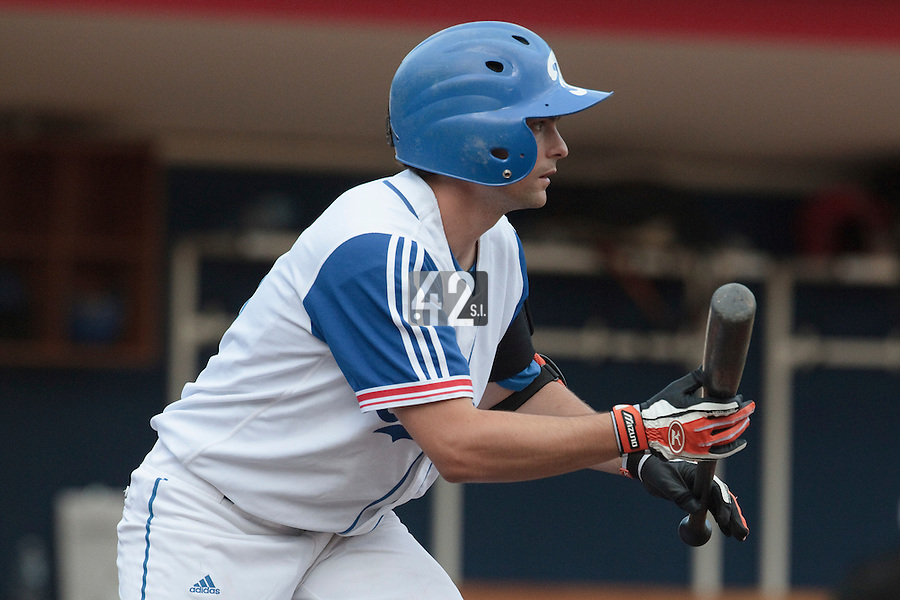 14 July 2010: Florian Peyrichou of Team France is seen at bat during day 2 of the Open de Rouen, an international tournament with Team France, Team Saint Martin, Team All Star Elite, at Stade Pierre Rolland, in Rouen, France.