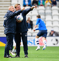 Preston North End's first team coach Frankie McAvoy, left, and Preston North End's first team coach Steve Thompson during the pre-match warm-up<br /> <br /> Photographer Chris Vaughan/CameraSport<br /> <br /> The EFL Sky Bet Championship - Preston North End v Reading - Saturday 15th September 2018 - Deepdale - Preston<br /> <br /> World Copyright &copy; 2018 CameraSport. All rights reserved. 43 Linden Ave. Countesthorpe. Leicester. England. LE8 5PG - Tel: +44 (0) 116 277 4147 - admin@camerasport.com - www.camerasport.com