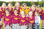 Determined St Bridgid's NS Duagh footballers at the County Primary Schools Football final in Beaufort on Thursday front row l-r:  front row l-r: Kylie Walsh, Katlyn Dennehy, Margaret Walsh, Annie Dillon, Aoibhi?nn Walsh. Back row: Juilanne McCarthy, Grainne Sheehy, Katie Ahern, Orla Fitzgerald, Aisling McCarthy and Fionnula Mangan