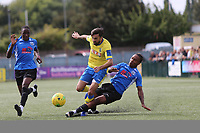 Stelios Demetriou of Haringey and Tyreese Walters of Herne Bay during Haringey Borough vs Herne Bay, Emirates FA Cup Football at Coles Park Stadium on 7th September 2019