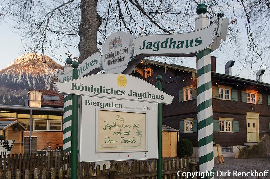 Restaurant K&ouml;nigliches Jagdhaus in Oberstdorf im Allg&auml;u, Bayern, Deutschland<br /> Restaurant K&ouml;nigliches Jagdhaus in Oberstdorf, Allg&auml;u, Bavaria,  Germany